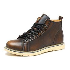 High-quality Large Size Vintage Color Match Ankle High Top Leather British Style Boots - NewChic Mobile