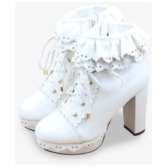 Vintage Frilled Platform Shoes In White via Polyvore featuring shoes, white shoes, white colour shoes, vintage footwear, ruffle shoes and platform shoes