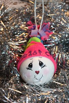 OOAK+Hand+Painted+Babys+First+Christmas+Snowball+by+TracysCrtns,+$9.50