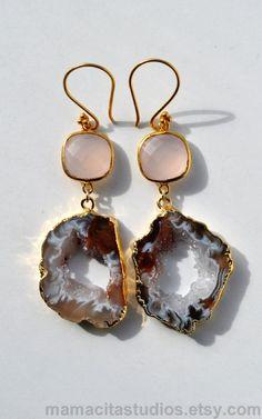 Geode Earrings - Gemstone Drop Earrings - Geode Jewelry. $59.00, via Etsy. LOVE