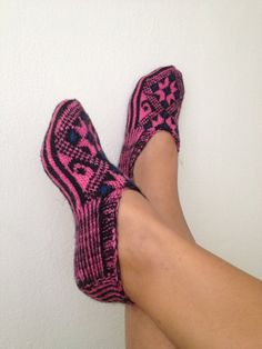 pink and black  Otantic slippers, special knitting slippers,Home slippers - OOAK-black friday. $24.99, via Etsy.