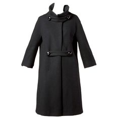 Louis Feraud Vintage 1960s 60s Mod Heavy Black Wool Coat | From a collection of rare vintage coats and outerwear at https://www.1stdibs.com/fashion/clothing/coats-outerwear/