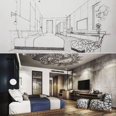 """2,312 Likes, 26 Comments - Tama Vajrabukka (@tama_ov66) on Instagram: """"✍ Bedroom 1 & 2 designed for Mr.T's Private House. #sketch #handdrawing #perspective…"""""""