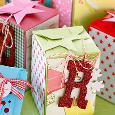 Create fun, festive mini gift boxes using die cuts or patterns. Find more ways to wrap your gifts here! http://www.bhg.com/christmas/gift-wrapping/pretty-gift-wraps-and-bows/?socsrc=bhgpin121814decoratediecutboxes&page=7