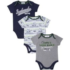 Seattle Seahawks  Infant 3-Piece Bodysuit Creeper Set – Gray