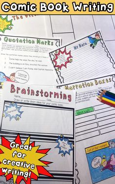 Teach your students brainstorming, setting, characterization, quotation marks and more! This Comic Book Writing unit is a fun and engaging way to teach your kiddos to love writing! $ https://www.teacherspayteachers.com/Product/Comic-Book-Writing-1953771
