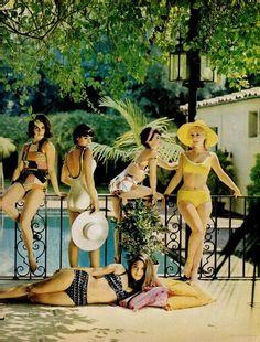 Stephanie Powers, Joan Blackman, Suzan Silo, & Barbara Eden modeling swim suits (1962)