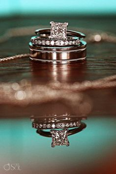 Stunning set of wedding bands and engagement ring from a destination wedding at the boutique hotel Le Reve in the Riviera Maya. Mexico wedding photographers Del Sol Photography