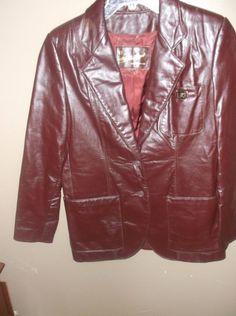 $9.96 or best offer ETIENNE AIGNER SZ 6 Jacket Women's Gorgeous Burgundy Leather vintage Coat wine #etienneaigner