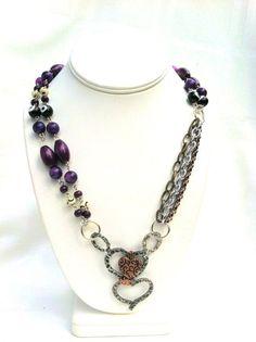 statement necklaces asymmetrical clasp   Statement Necklace Asymmetric Mixed Metal