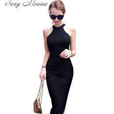 Women Long knitting Dress Spring Sexy Slim Bodycon Dresses Elastic Skinny Split Dress Brief Halter Black Dresses vestidos