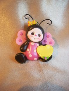 *POLYMER CLAY ~ ladybug cake topper Christmas ornament personalized childrens gift