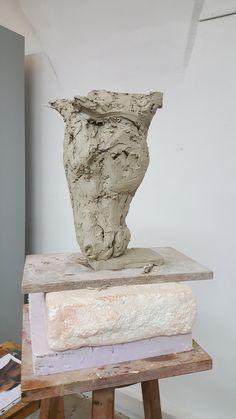 Sculpture tête de cheval argile Horse head clay sculpture