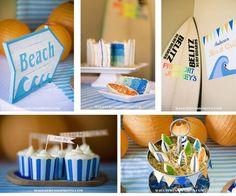 Beach-theme party ideas. Love the surfboard cake.
