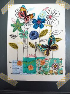 The Meadow- mixed media- stitched original art- blue