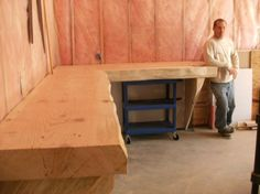 """work bench in an """"L"""" shape.  For my craft room / dance space! :)"""