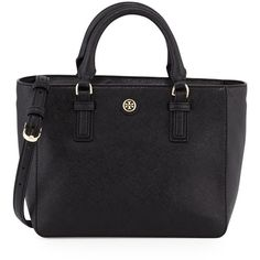 Tory Burch Robinson Mini Square Tote Bag ($450) ❤ liked on Polyvore featuring bags, handbags, tote bags, black, leather handbag tote, zip top tote, leather purse, tory burch purse and tory burch tote