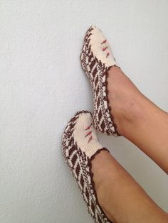 Brown and beige  Otantic slippers special knitting by NesrinArt, $24.99