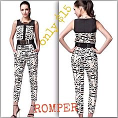 SOLD on eBay Geometric romper Lovely romper/jumpsuit with pockets! It's has zippers on it so you can get into it.Check out the measurement chart I posted.I can email it to you or check out the listing on eBay..I have never worn it just tried it on and didn't have enough room, but it is still in tip top condition. Pants Jumpsuits & Rompers