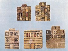 Faience tiles showing Minoan house facades, these tiles date to c. 1850 BCE.