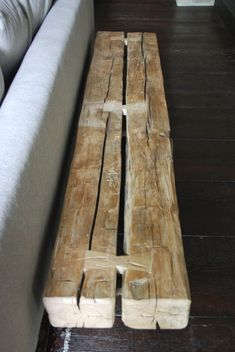 Brandner Design's Beam Bench is a repurposed piece of history. These barn beams . - Brandner Design's Beam Bench is a repurposed piece of history. These barn beams were salvaged fro - Timber Furniture, Rustic Furniture, Woodworking Joints, Woodworking Projects, Wood Joints, Wood Beams, Hand Hewn Beams, Diy Holz, Wood Slab