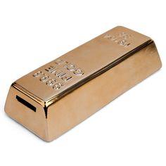 Spardose Goldbarren - Kikkerland #piggy #piggybanks #coin  #banks #money #boxes