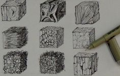 Pen and Ink Drawing Tutorials How to create realistic textures # Drawing Lessons, Drawing Techniques, Drawing Tips, Create Drawing, Learn Drawing, Drawing Ideas, Drawing Sketches, Texture Drawing, Texture Art