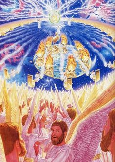 "This is the vision of the apostle John in The Revelation. God enabled him ""see"" into heaven by means of a dream-like vision, to see Jehovah's throne, the 24 elders (anointed ones from the earth who are part of God's kingdom government), and the angelic hosts."