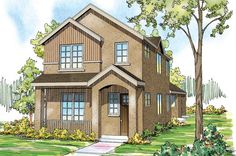 Rock Creek II - A welcoming porch spans the front of this contemporary townhome with a Mediterranean flavor.