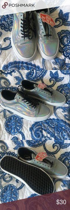 Old Skool holographic iridescent Vans Brand new. Holographic Vans super cute! Vans Shoes Sneakers