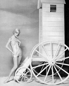 Christa Päffgen (aka Nico) in shimmering maillot of Lurex and nylon blend, by Nina Ricci, photo by Roland de Vassal, 1961