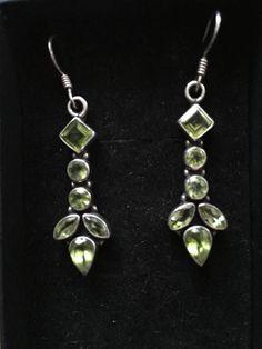 Vintage sterling silver 925 long earrings green crystals elegant #Unbranded