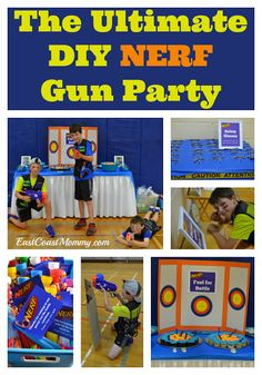 Indoor birthday party games for kids diy nerf gun 63 ideas Sleepover Party Games, Indoor Party Games, Diy Party Games, Party Crafts, Ideas Party, Party Party, Nerf Party Food, Party Time, Party Favors