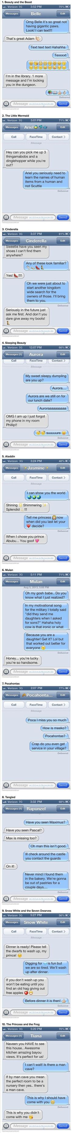 Funny/cute text messages of Disney couples