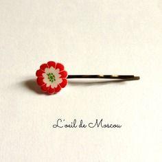 Barrette épingle à cheveux fleur blanche et rouge d'inspiration japonaise