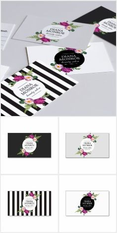 Our floral wreath design suite instantly transforms your name into a beautiful logo. Available to personalize on business cards, appointment cards, gift certificates, office stationery and more. Get your brand up and running right away with this ready-made design suite. Great for makeup artists, beauty salons, nail artists, floral designers, boutiques and more.