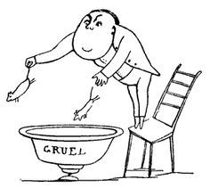 From the 1894 A Book of Nonsense by Edward Lear. cartoon of cruel man cooking mice in gruel pot dropping in from on high