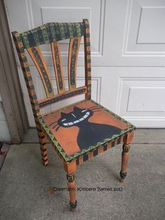 Halloween Chair Hand Painted Cat Folk by KimberlyBarnesArt on Etsy