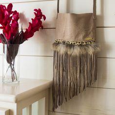 Beige soft leather / Tribal fringe