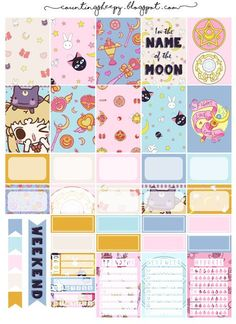 Free Printable Sailor Moon Planner Stickers from Counting Sheepy Hydration tracker, frames, backgrounds, checklists, flags Free Planner, Planner Pages, Happy Planner, 2015 Planner, Planner Layout, Blog Planner, Monthly Planner, Planner Ideas, Sailor Moon