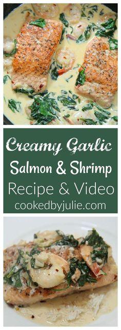 Creamy Garlic Salmon and Shrimp