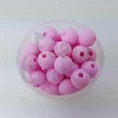 10 Perles rondes Rose bébé en silicone 8mm
