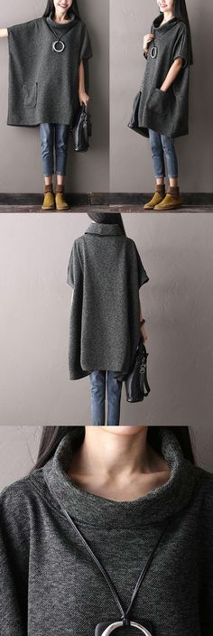 Knitted Cotton Gray Irregular Tops.