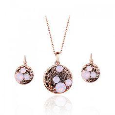 Luxusná súprava Swarovski kruh so svetloružovými kryštálmi