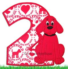 Clifford the Big Red Dog Birthday number No Sew by SewCuteApplique, $12.50