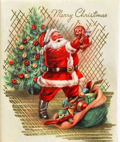 1950s Unused Santa Holding Puppy Gold Shimmer Toy Sack Vintage Christmas Card