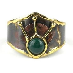 Green Stone Rays Brass Cuff - Brass Images (C)