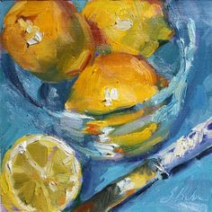 "Still life painting, Lemons on blue painting, 6""x 6"", oil painting on canvas panel"