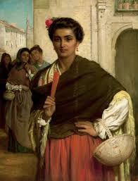 A Spanish Beauty in a Red and Black Lace Shawl (1892). Admirers (1876)