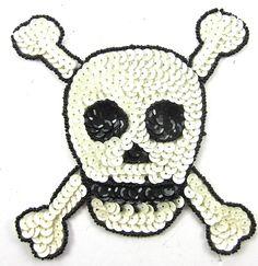 """Skull and Bones White Sequins Black Beads 5"""" x 5"""""""